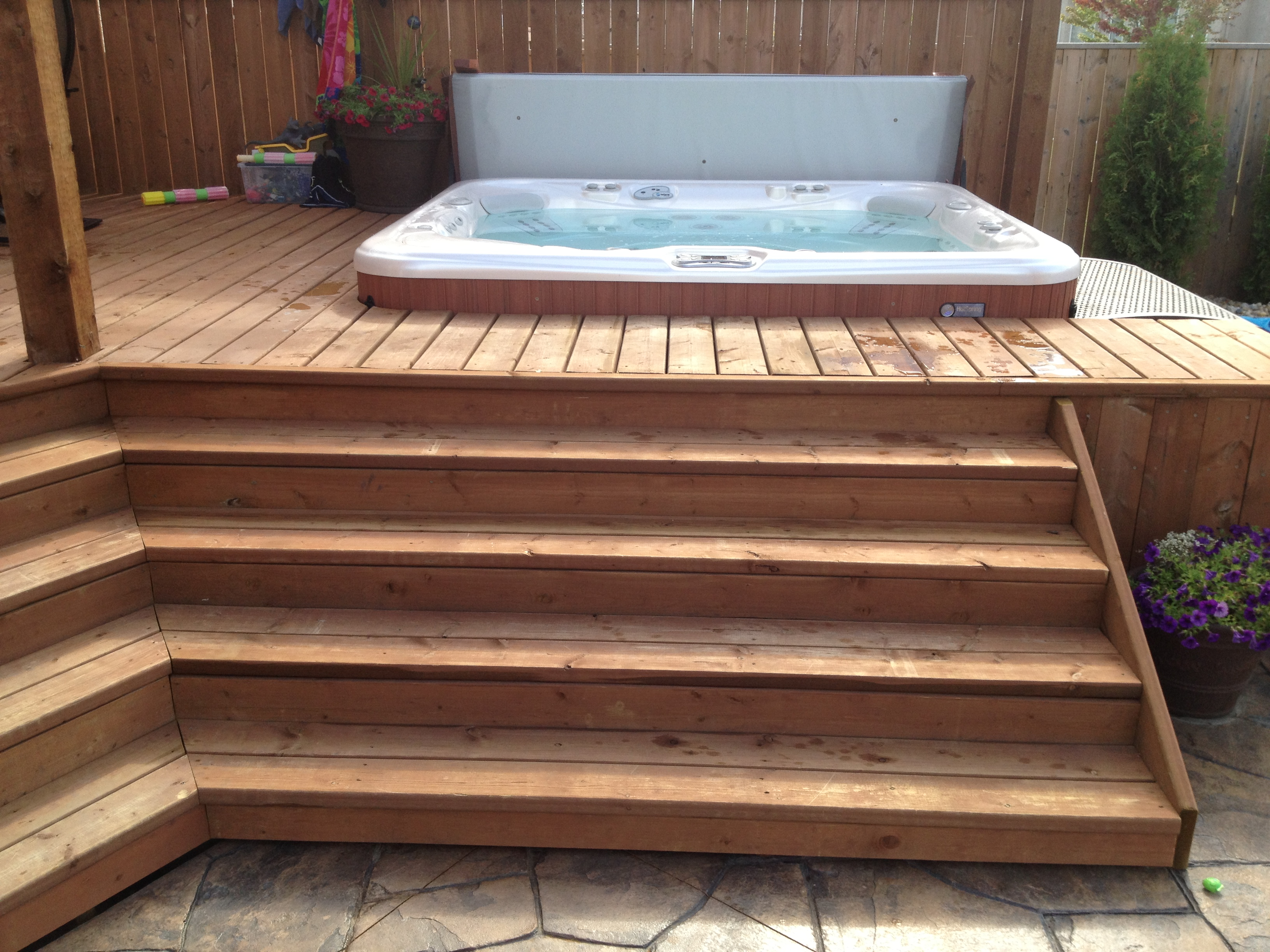 oudoor well in of and corner two plus image decking yard with tub tubs ideas wooden the hot level privacy back furniture build also bence buil decks patio bathroom a installation deck planters screen bench best designs outdoor as